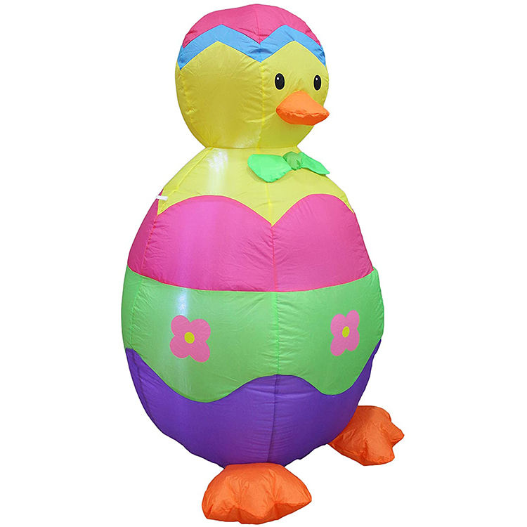Hot OEM&ODM Blue yellow chicken with red flower build-in blower easter inflatable