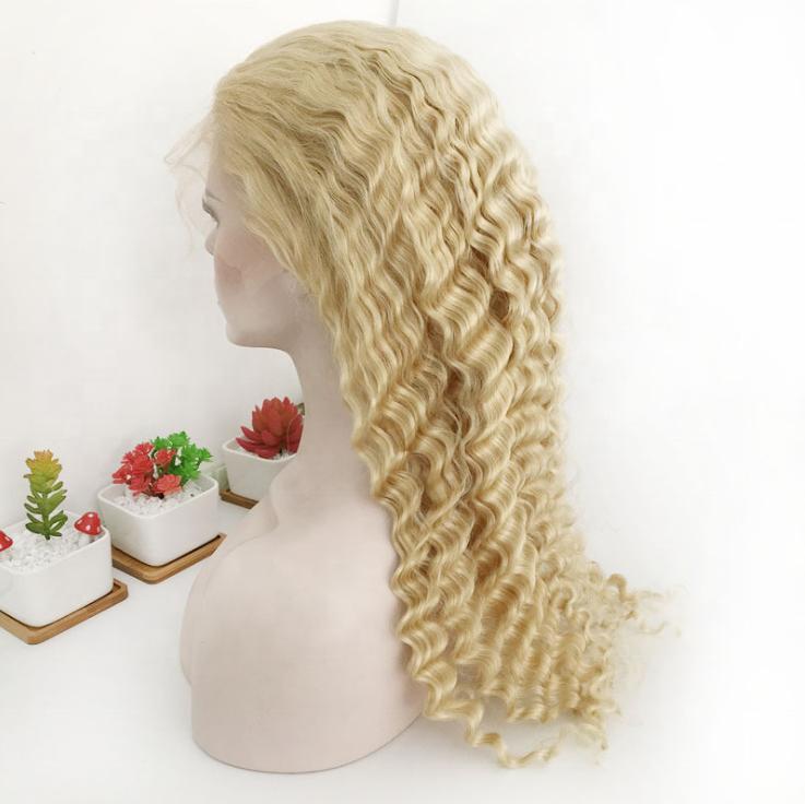 brasileño sin procesar cutícula alineada Pelo Rizado cabello humano 613 cabello rubio Color 360 pelucas de encaje completo