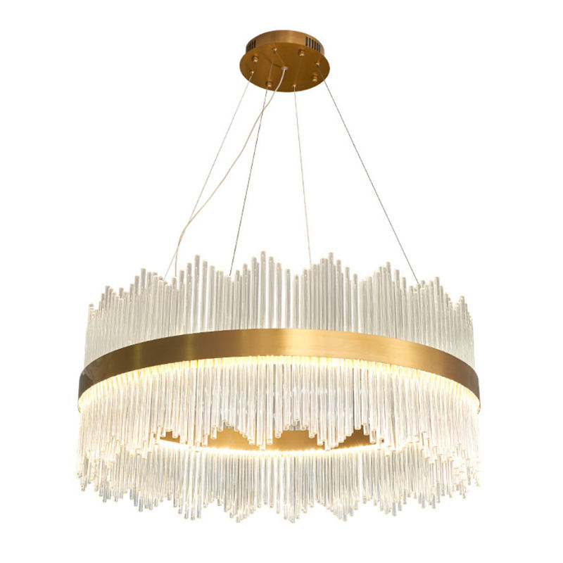 New arrival nordic luxury crystal glass rods wrought iron hanging modern gold led pendant light