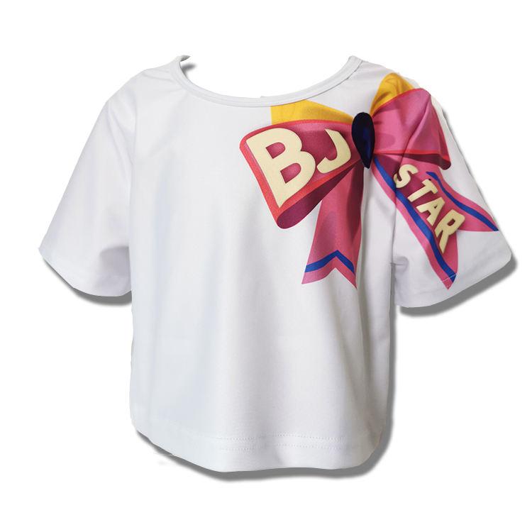 Оптовая продажа; милые топы для девочек; Повседневная укороченная футболка с короткими рукавами и бантом