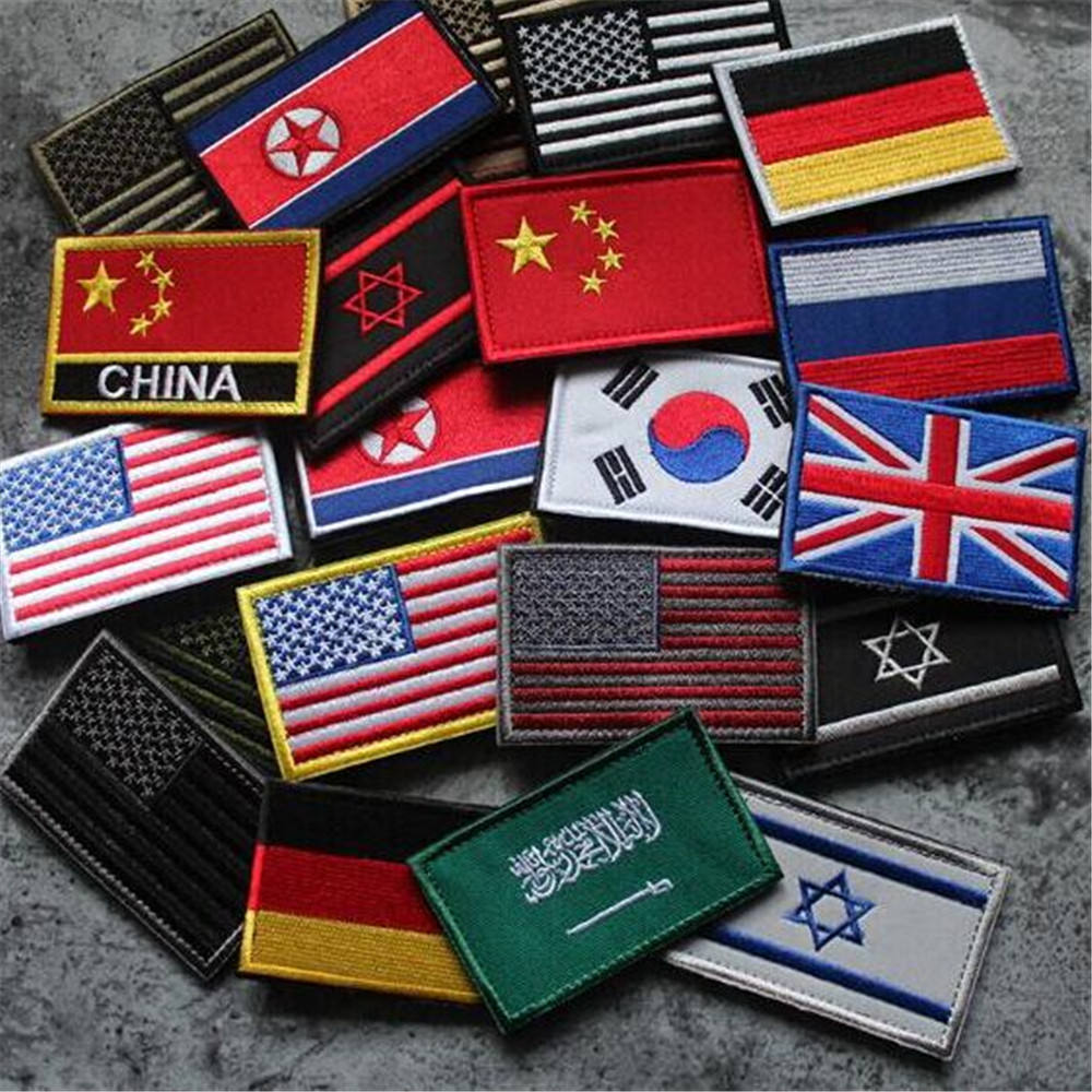 3D Embroidery Badge National Flag Emblem Stripe Patch Armor Clothes Denim Backpack Patch Decoration Accessories