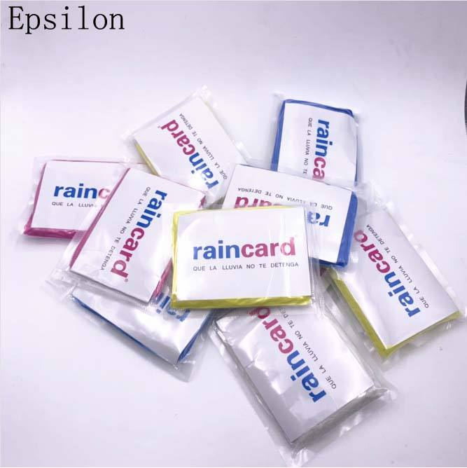 Epsilon Disposable Cpe Promotion One Time Use Raincoat Portable Handbag Wallet Raincoat Rain Card Raincard For Bags
