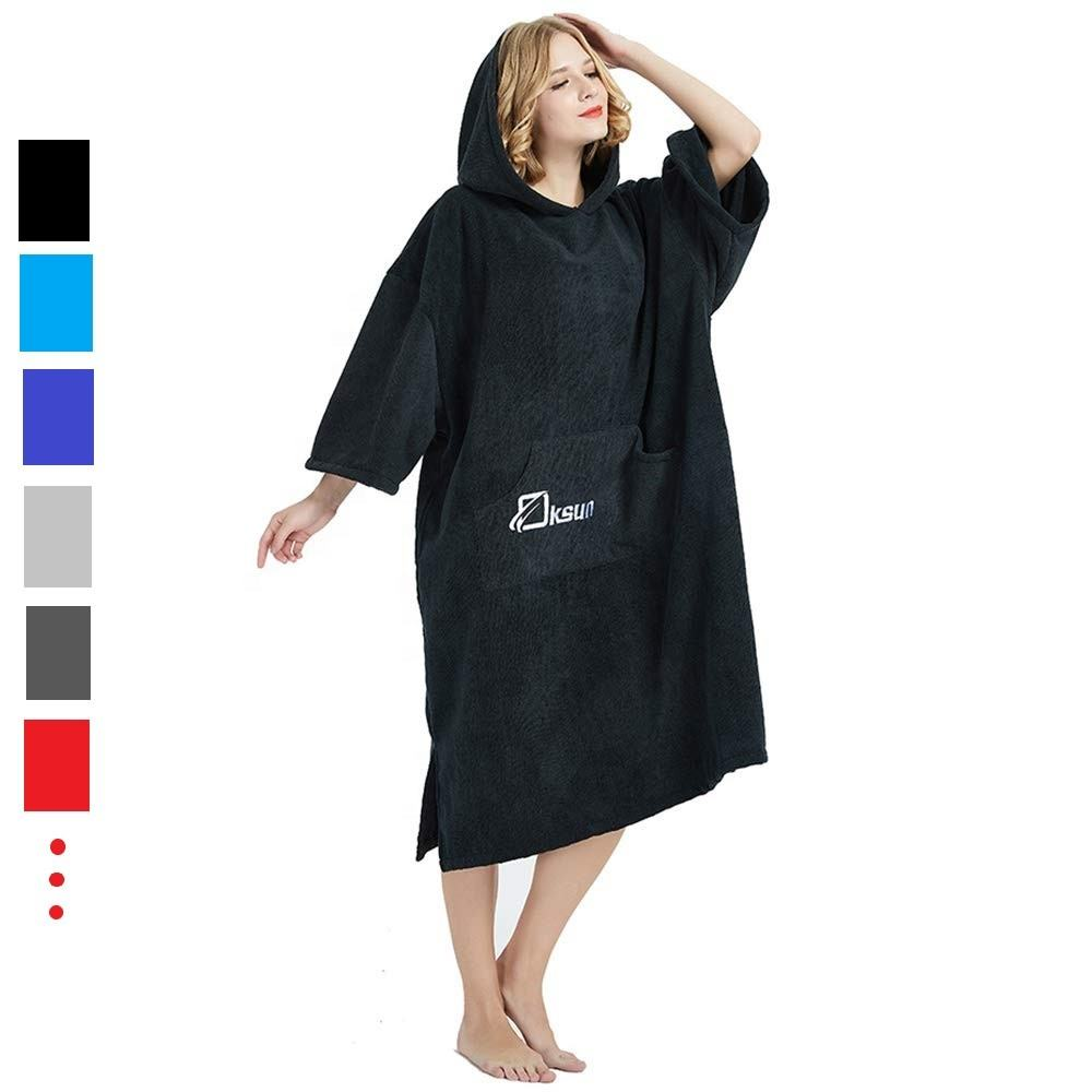 Custom Logo Design Thick Absorbent Beach Swim Poncho Changing Robe Towel with Hood