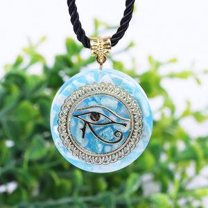 Pendentif Orgonite œil d'horus, l'œil qui voit tout, collier d'amazonite,  d'énergie, d'oeil du diable, amulette, bijoux magnétiques