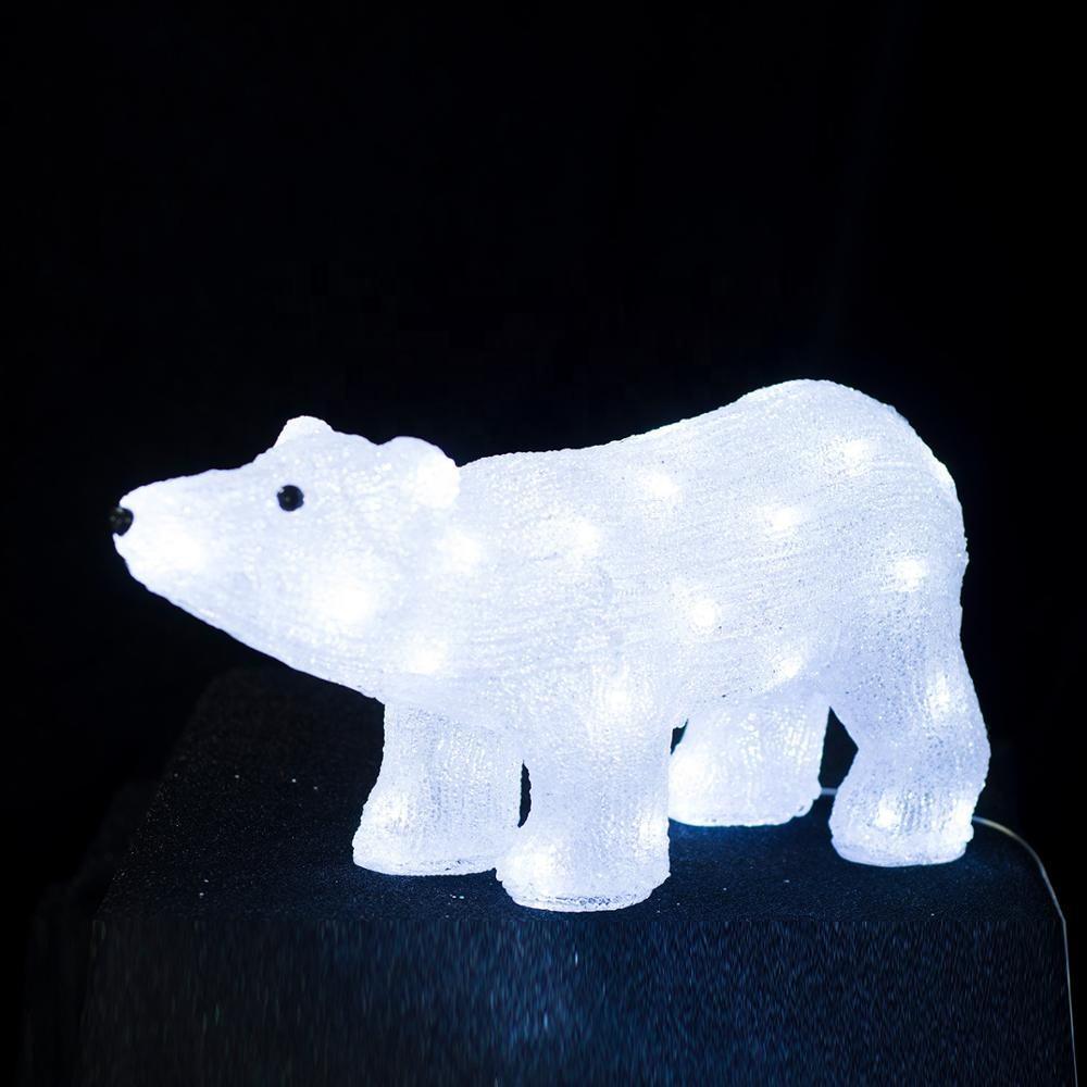 Siempre comercial nuevo diseño Led vacaciones de Navidad acrílico decoración Oso Blanco motivo Luz