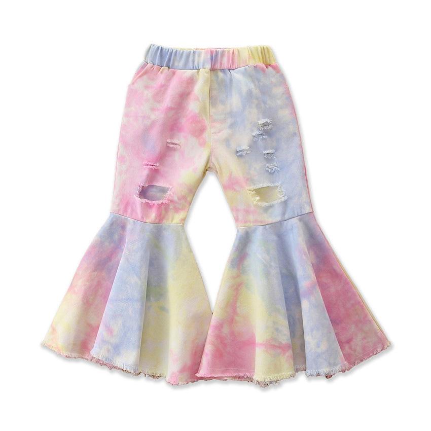 Модные ковбойские расклешенные брюки с оборками для маленьких девочек; Модные джинсы осень-зима