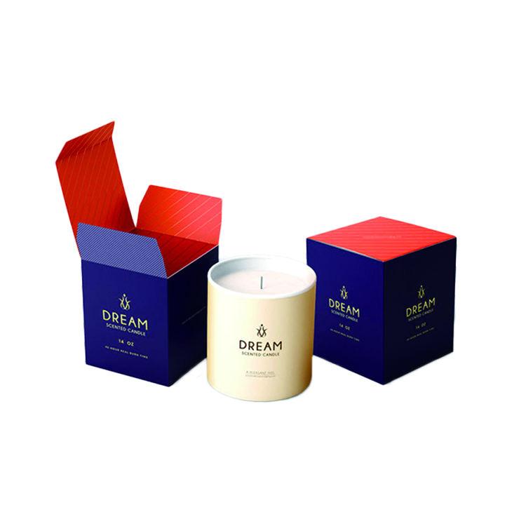 Personalizado de marca privada color plegable caja de cartón de impresión de vela de cajas de embalaje