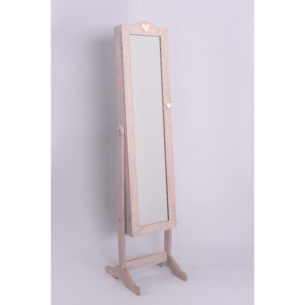 Pé livre Grão de Madeira Armário com Espelho de <span class=keywords><strong>Jóias</strong></span> Armoire Antigo Full-Length