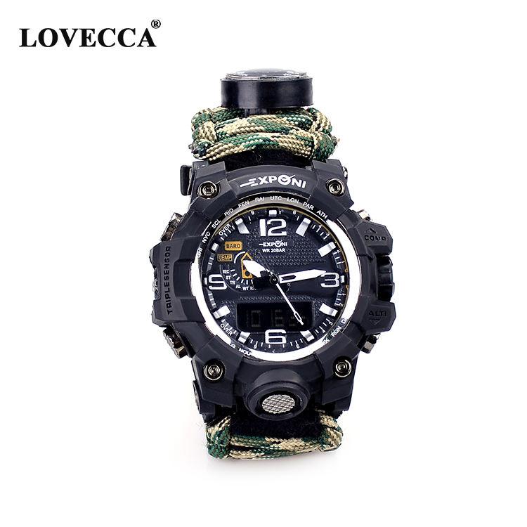 メンズ腕時計スポーツウォッチサバイバル腕時計ブラック Paracord/笛/火災スターター/スクレーパー/コンパスと温度計 6 で 1