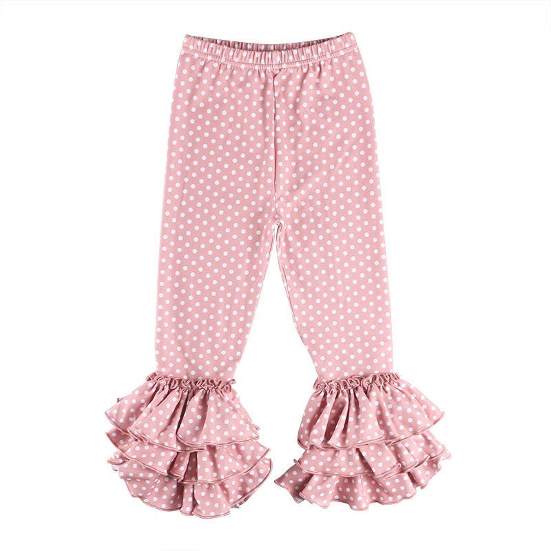 Для девочек оптом, магазинная одежда в горошек печати Тройная оборка Детские гетры малышей Обледенение леггинсы