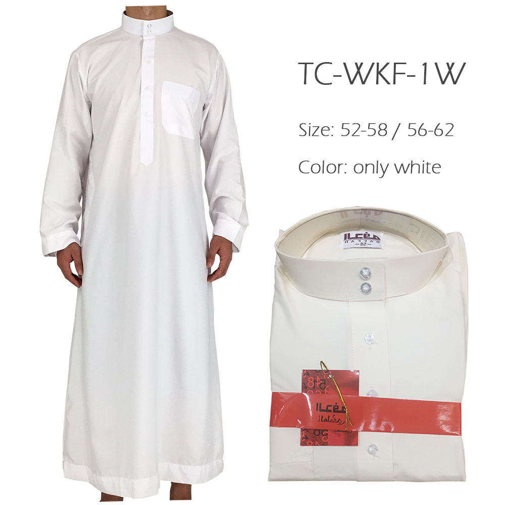 wholesale islamic men white clothing thobe arab design daffah thobe