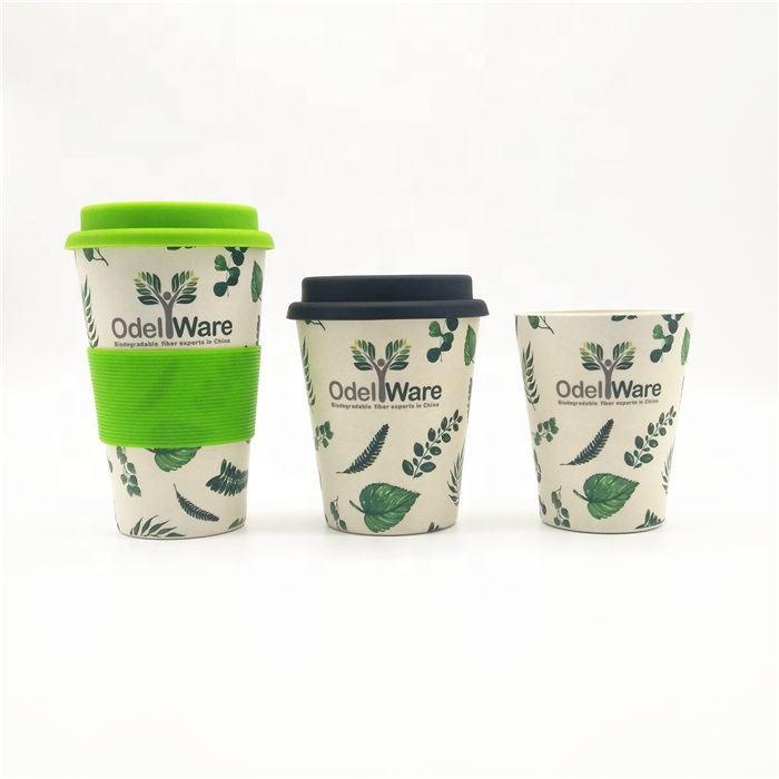 400 ml 500 ml éco personnalisé garder à emporter en gros de voyage réutilisable en bambou fiber tasse à café pour aller