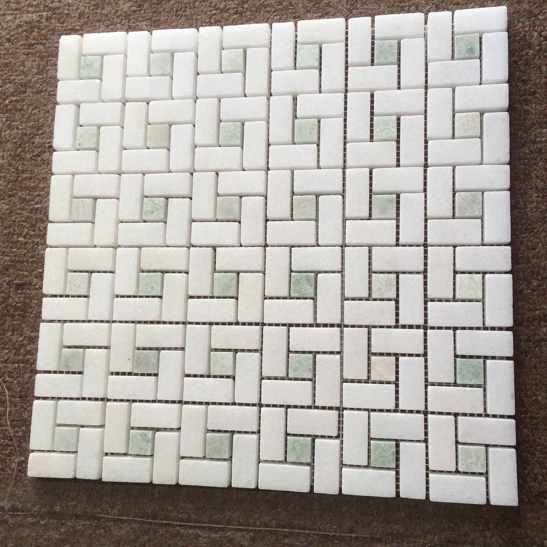 Windrad Thassos weiß mix minggreen marmor mosaik fliesen