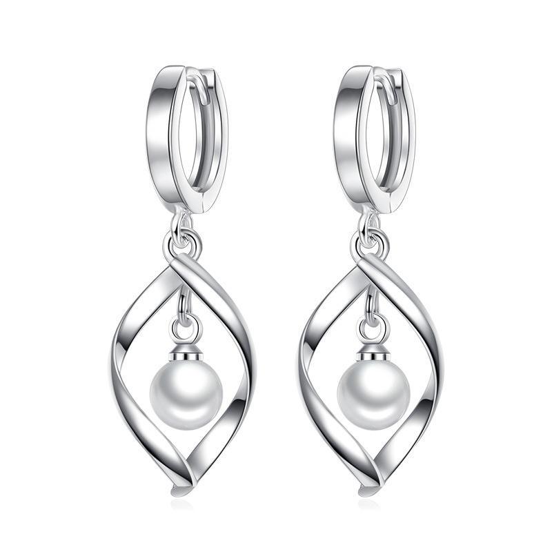 2019 925 Sterling Silver Fashion 펄 Classical 보석 Tear Drop 은 또 귀걸이랑 대 한 Women 선물