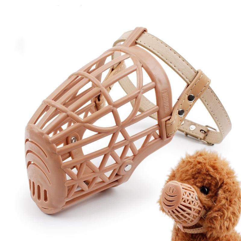 Venta caliente PU cuero valla cesta estilo boca proteger cubierta Anti-barking plástico suave perro bozales 7 tamaños