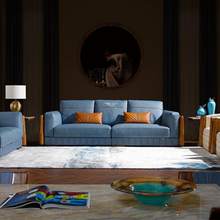 Oferta de fábrica europeo de muebles de sala de madera con sofá de cuero conjunto