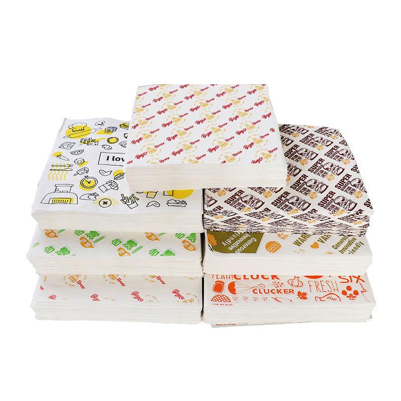 Пользовательские гамбургер Упаковка бумажная печать упаковка смазка доказательство сэндвич продовольствия воском бумаги