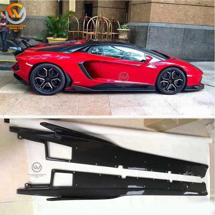 For Lamborghini LP700 Performance Carbon Fiber Side Skirt Splitter Extensions