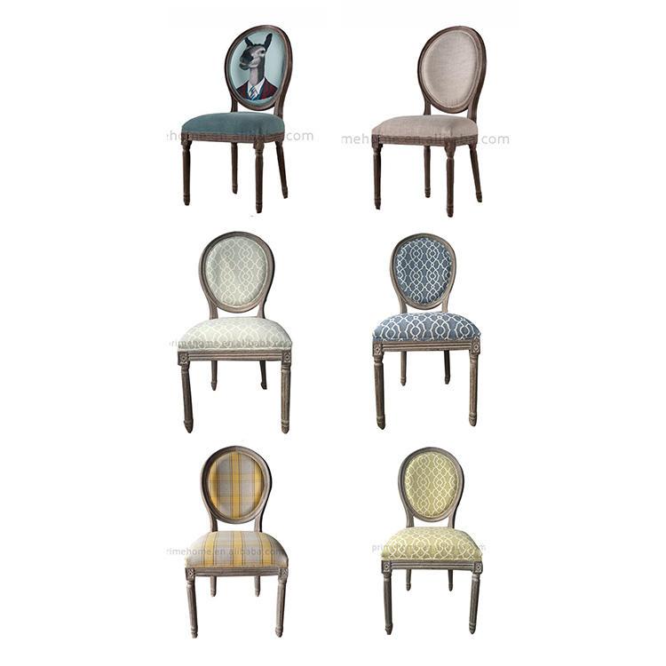 Colorful Médaillon côté chaise bleu, gris, beige lavage linge anrique chêne bois à manger chaises