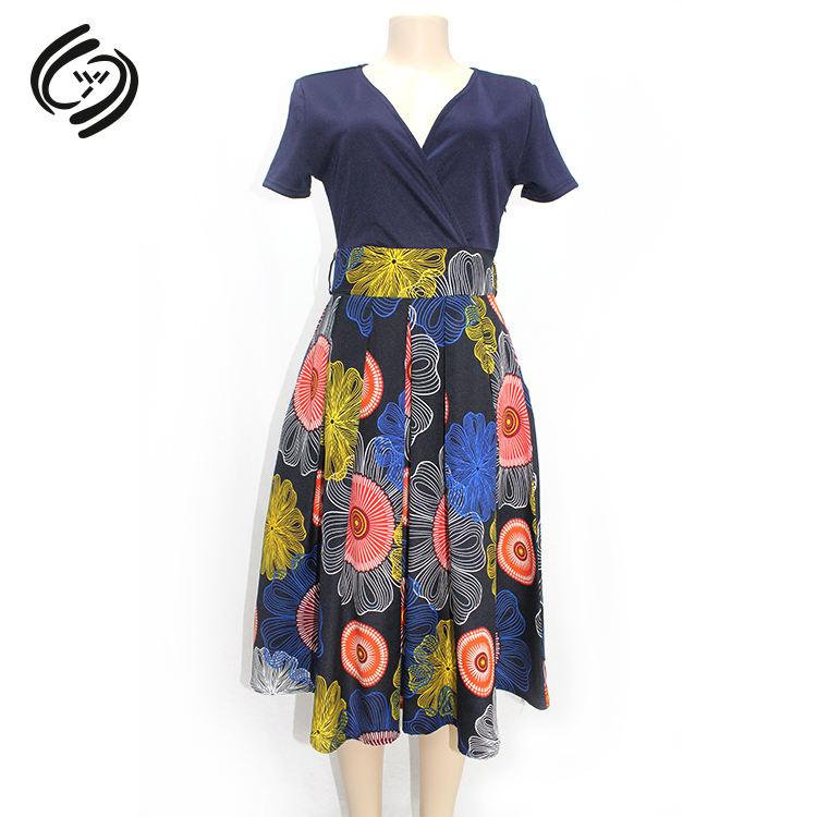 Einfache Damen Kurzarm Floral Kleid Damen Ziemlich Lässig Sommer Kleider Patchwork Farbe Kombination Für Blau Kleid