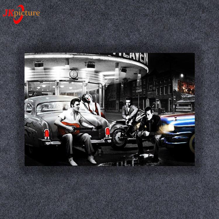 Led clásico coche arte de la lona de impresión iluminado colgante de pared de arte para la decoración de la casa