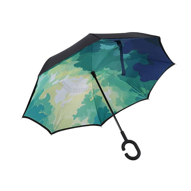 カスタム二重層ファッション安い C ハンドル防風折りたたみ反転プロモーション傘