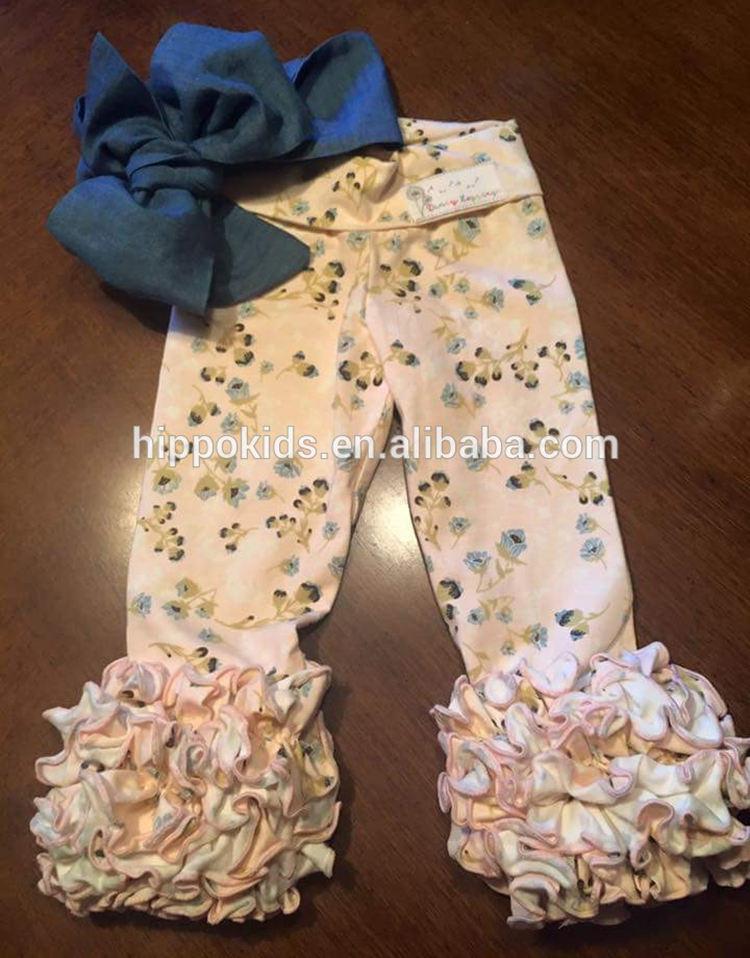 Новые дизайнерские леггинсы для маленьких девочек оптовая продажа брюки для девочек штаны с тремя рядами оборок