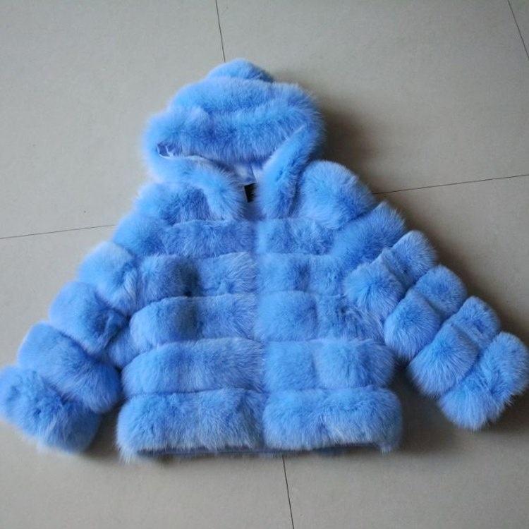 Venta caliente chaqueta de piel de las mujeres abrigo de la piel de <span class=keywords><strong>zorro</strong></span> <span class=keywords><strong>azul</strong></span> para las niñas