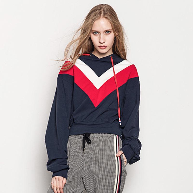 Nuevo diseño empalmado de gran ASOS jersey de las mujeres de gran tamaño Sudadera con capucha