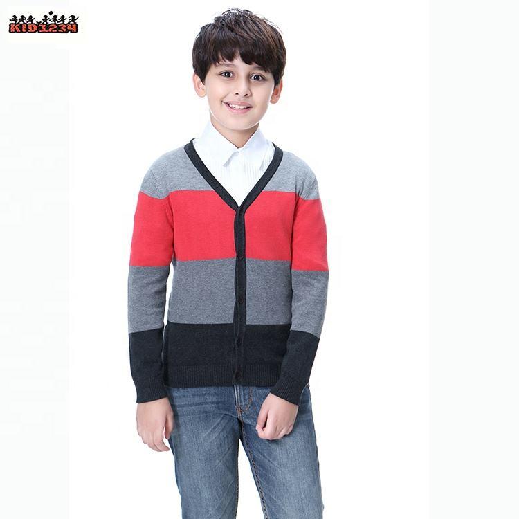 Оптовая экологически чистые рождественские дети мальчики цветной полосой хлопок свитер дизайн для ребенка 110 см-160 см