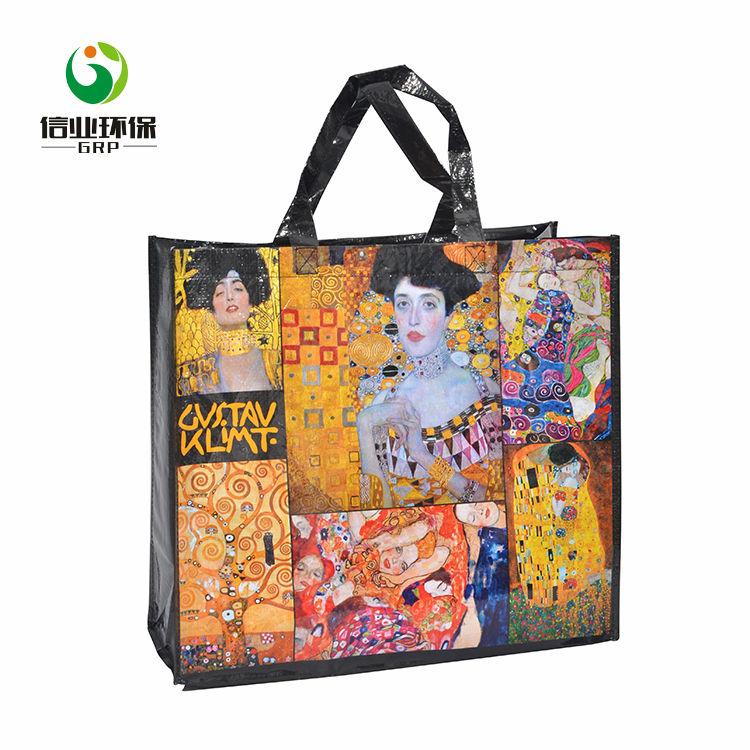 مخصص النفط اللوحة نمط المطبوعة حقيبة منسوجة من البولي بروبيلين التسوق الفن حقيبة