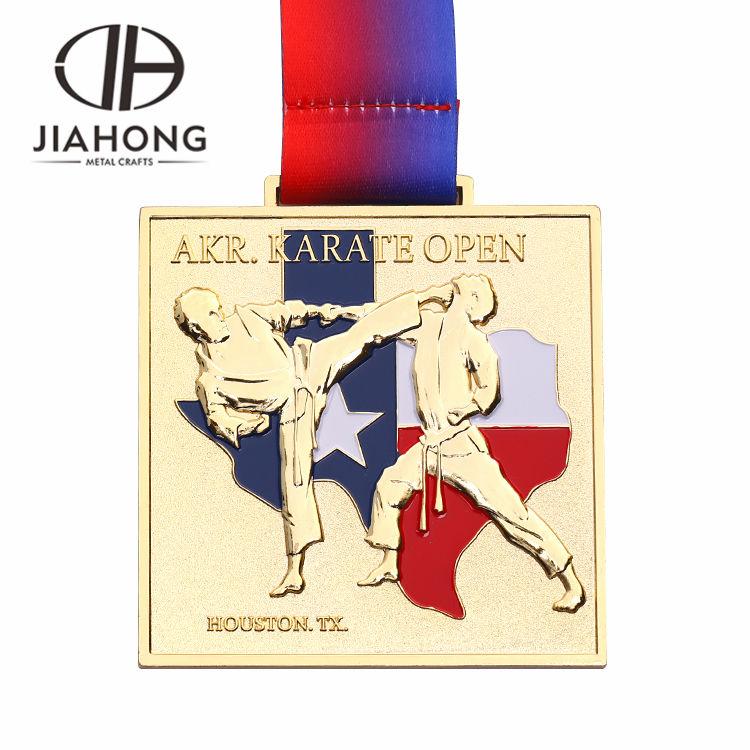 ヒューストン AKR 空手エンボス加工柔術共有フェンシングスポーツメダル