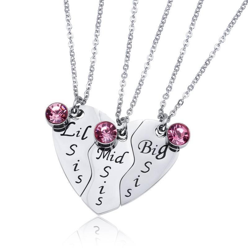 Venta caliente de Loftily de moda de joyería de estilo tres hermana Corazón Roto 316L de acero inoxidable Collar personalizado