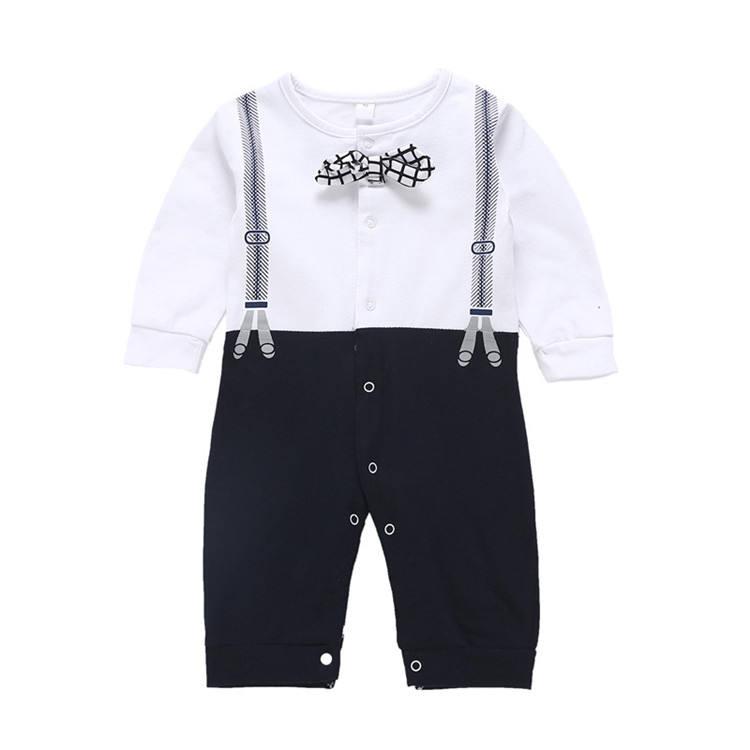 Удобная детская одежда женские комбинезоны с длинными рукавами джентльмен ребенок черный комбинезон младенческой комбинезон