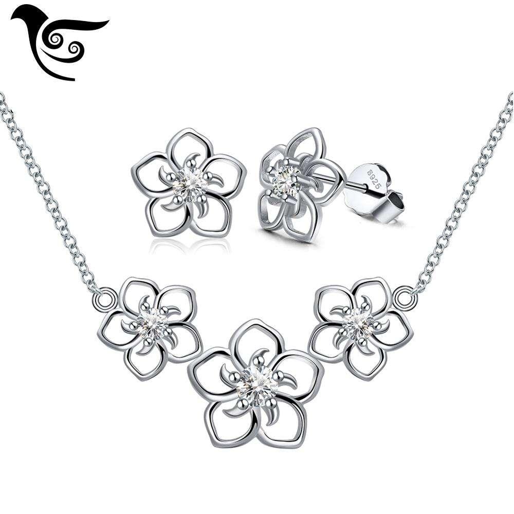 SS23 925 серебро цветок ожерелье серьги комплект ювелирных изделий Женщины комплект ювелирных изделий