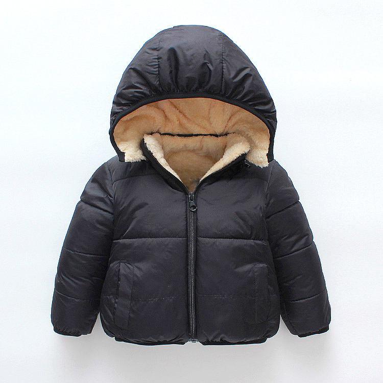 Зимняя куртка-пуховик для мальчиков оптовая продажа, Черная куртка с капюшоном для детей