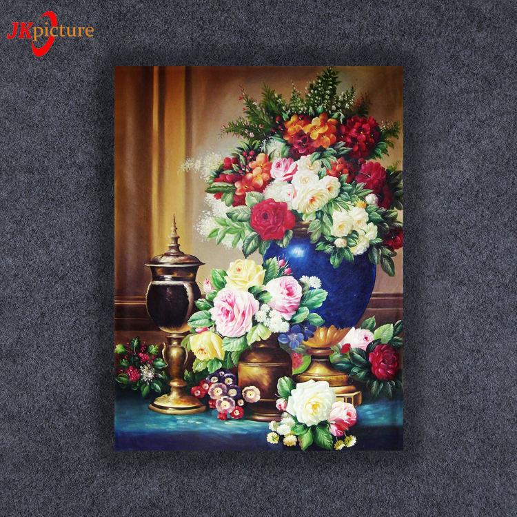 Venta caliente arte de la pared luz LED pintura tema tela de flores pintura