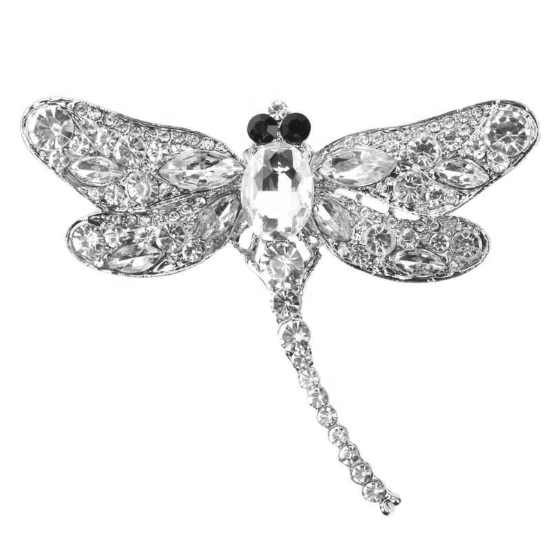 Venda quente libélula forma broche liga com strass
