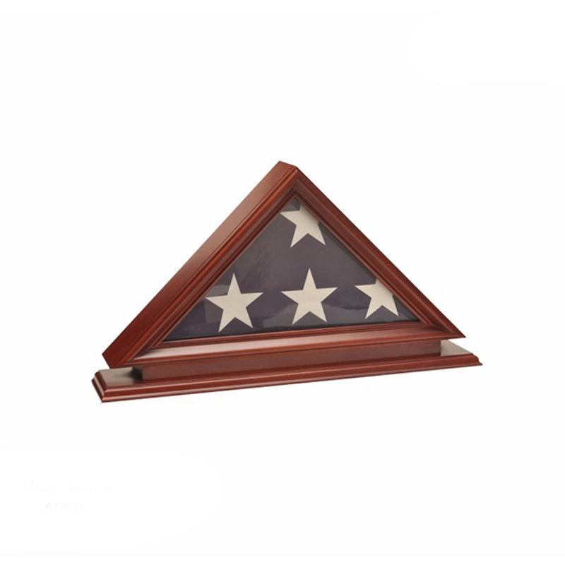 Твердая древесина Мемориальный флаг случае дисплей рамки для флага в сложенном виде