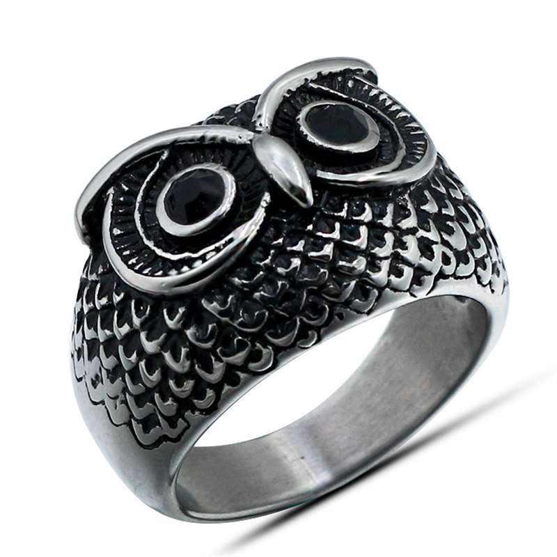 Cdge панк Рок сова кольцо для мужчин