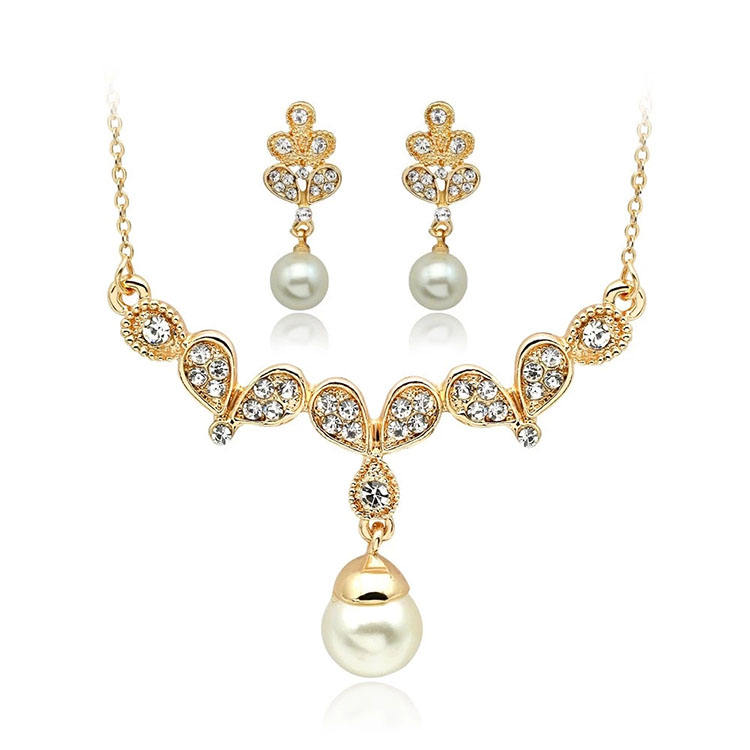 Оптовая продажа Мода AAA кубического циркония позолоченный жемчуг кулон комплект ювелирных изделий серьги и ожерелье