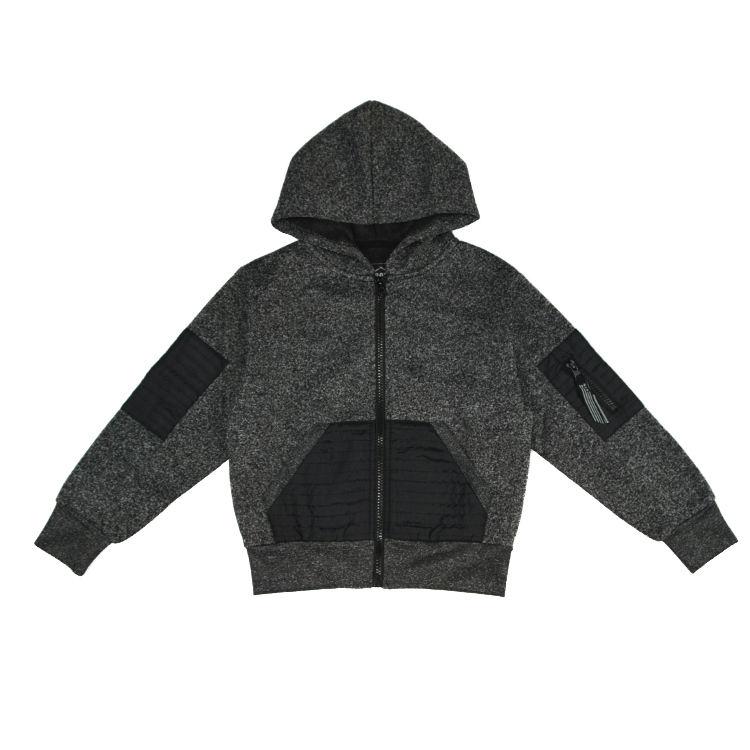 Новый весенний дизайн левый рукав карман на молнии фантазии Полный Zip Up Куртка с Капюшоном