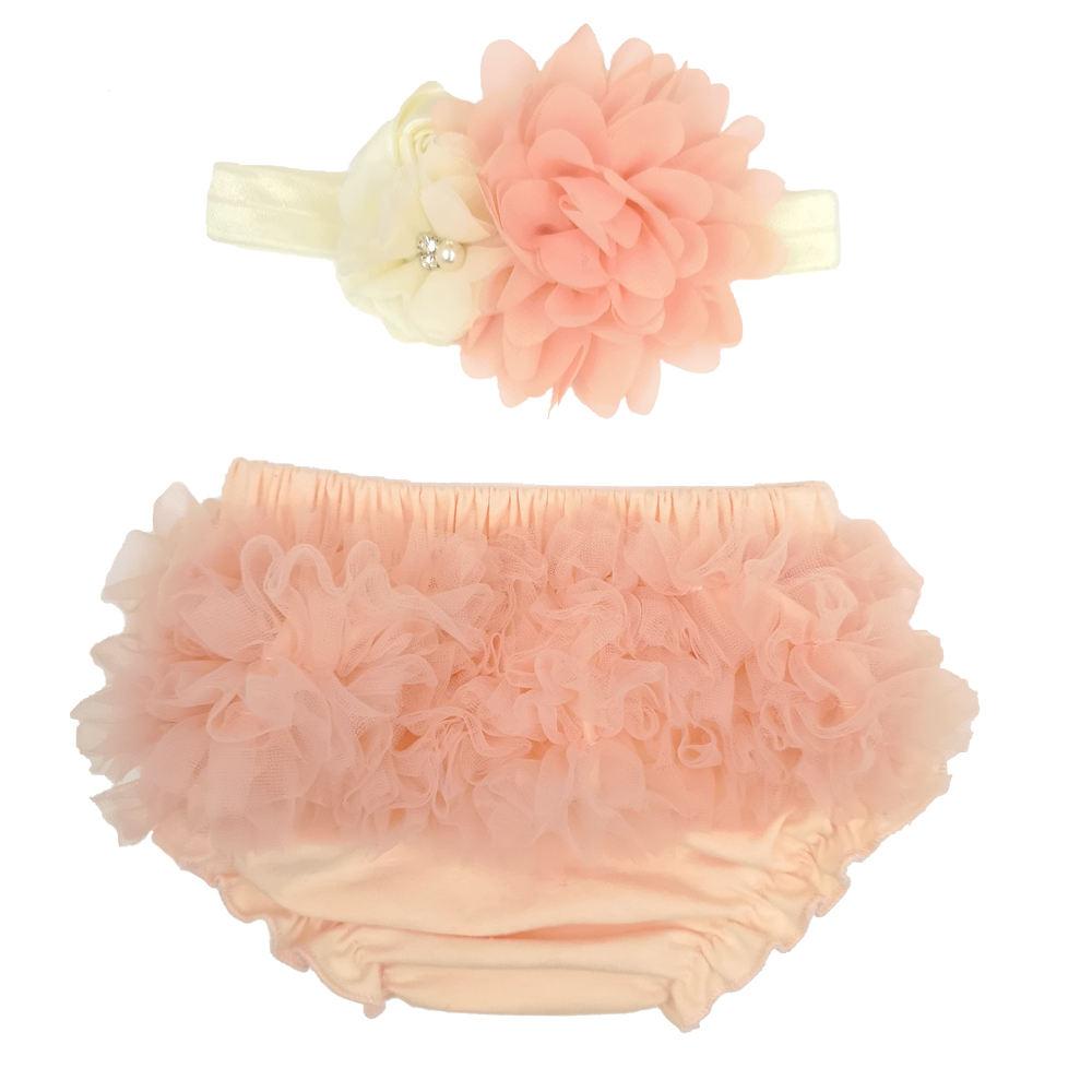 Для маленьких девочек чистый цвет полиэстер промах и повязка на голову с цветочным узором комплект