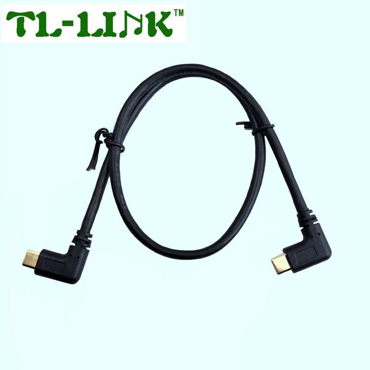 USB 3,1 Тип c правый угол 90 градусов USB A до кабель для зарядки USB c провод для быстрой зарядки с позолотой