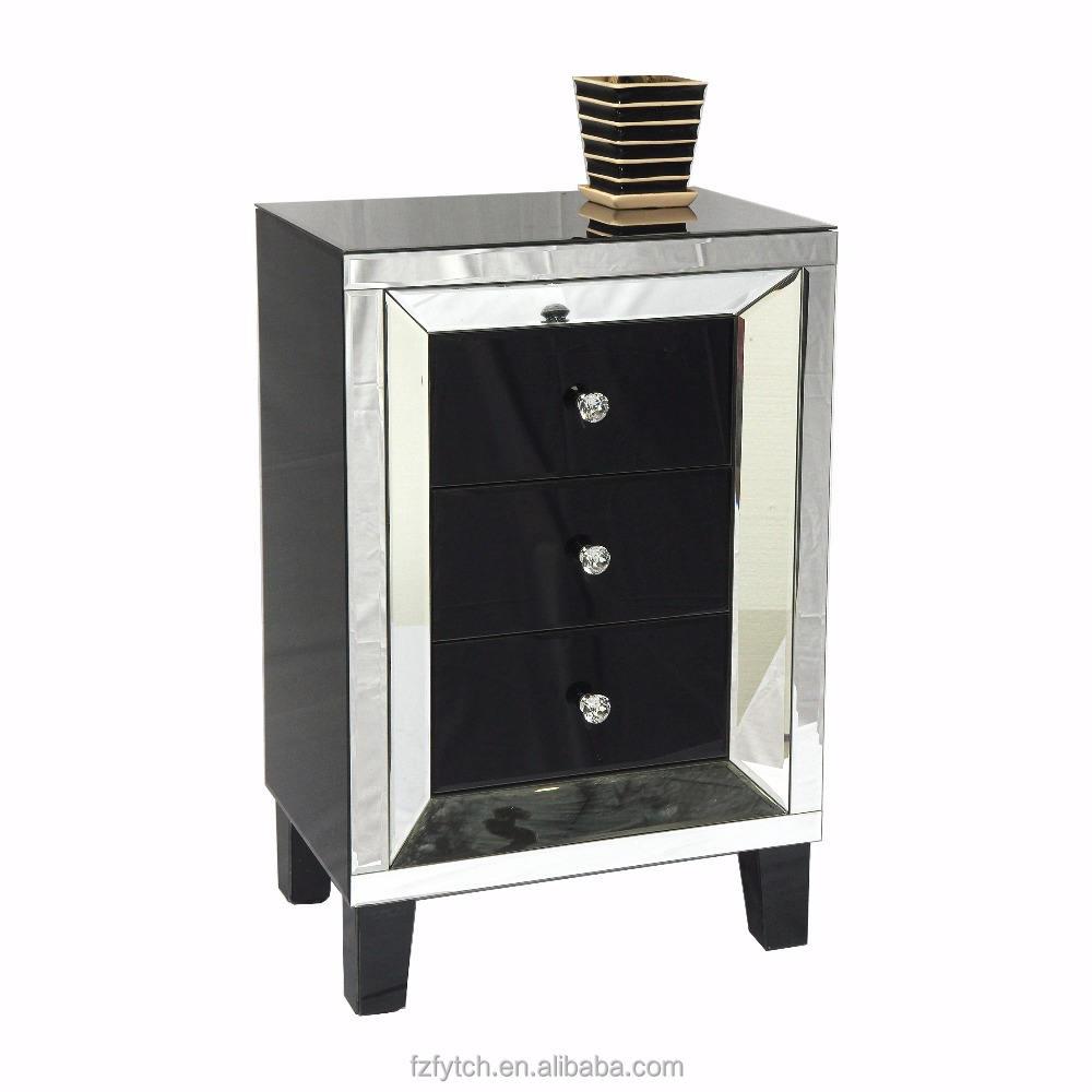 F60 al por mayor venta al por mayor nuevo estilo de muebles de dormitorio de 3 cajones de noche negro y claro
