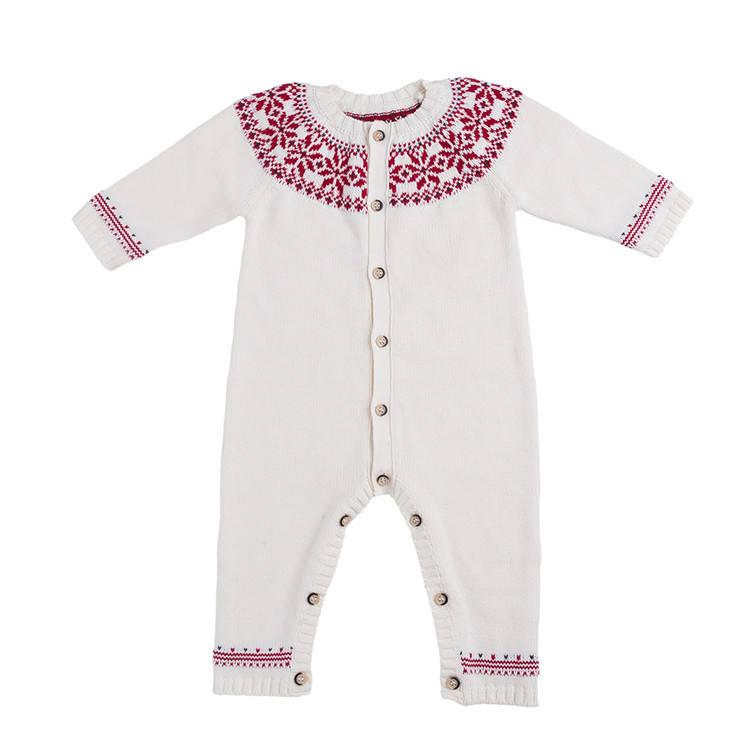 Рождественская одежда Модный хлопковый детский зимний трикотажный комбинезон