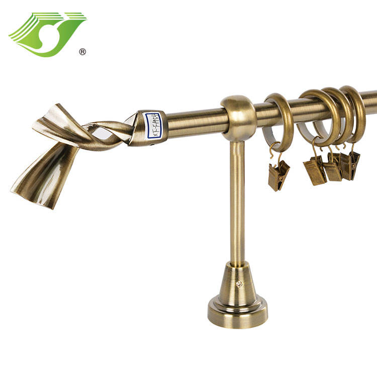 Single Bracket Curtain Pole Wrought Iron Tracks & Accessories 19mm Window Shade Metal Iron, Plastic Support from Guangzhou China