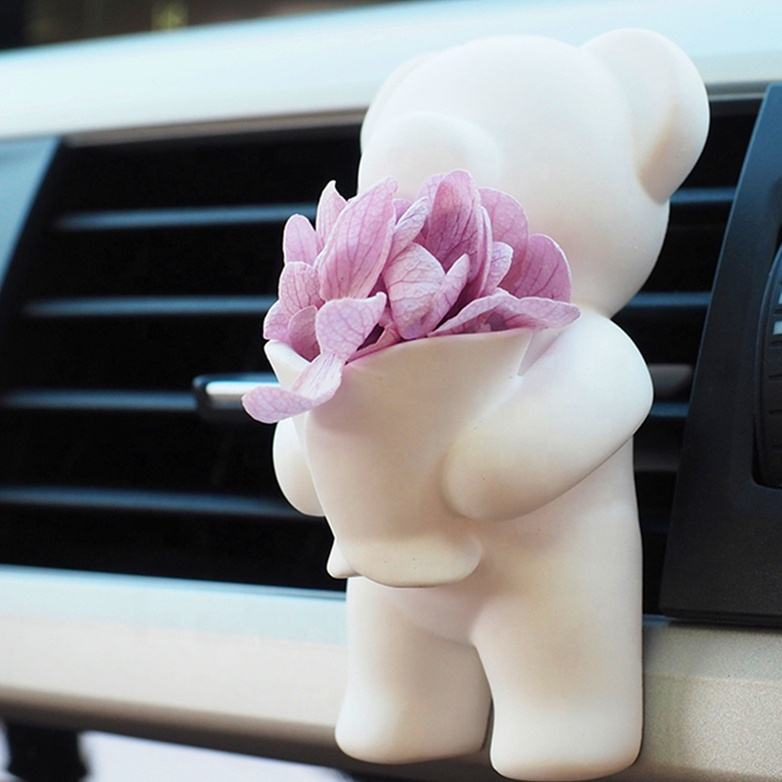 Bucket Cute Bear Shaped Car Vent Clip Ceramic Flower Aroma Stone Diffuser Air Freshener