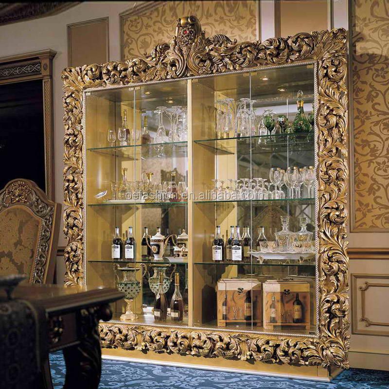 OE-FASHION lujo talla <span class=keywords><strong>de</strong></span> <span class=keywords><strong>madera</strong></span> sólida gabinete del vino antiguo Gabinete con puerta <span class=keywords><strong>de</strong></span> cristal