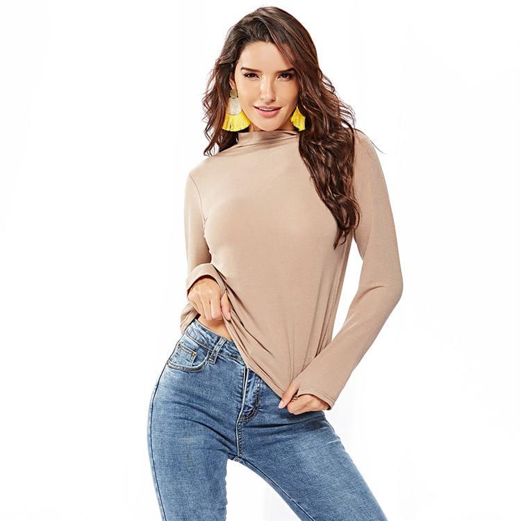 otoño e invierno las mujeres damas Casual Slim de Color sólido de cuello alto de punto manga larga túnica superior